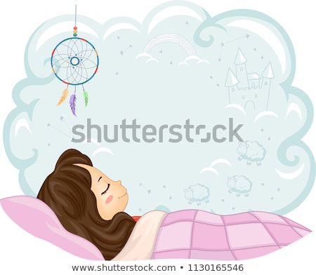 Cartoon bambina dormire felice ragazzi design Foto d'archivio © tigatelu