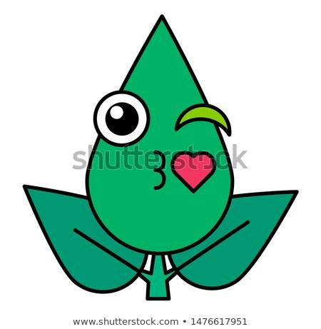 Folha verde ar emoticon linear ícone bonitinho Foto stock © barsrsind