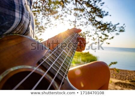 Vrouw zonsondergang strand meisje zon Stockfoto © cookelma