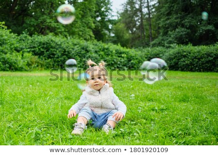 jongen · bubbels · gras · bloemen · voorjaar · gelukkig - stockfoto © paha_l