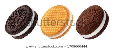 ぱりぱり クッキー クリーム 孤立した 白 食品 ストックフォト © lypnyk2