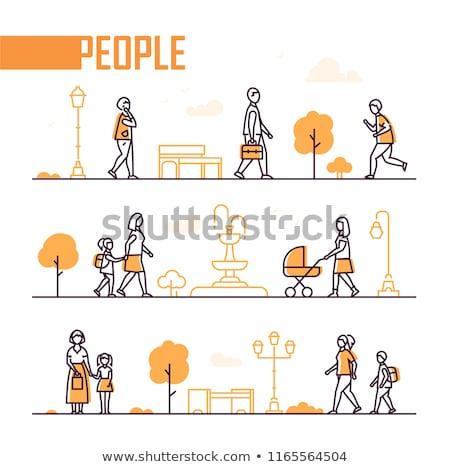 Człowiek uruchomiony życia line ilustracja sprawdzić Zdjęcia stock © vectomart