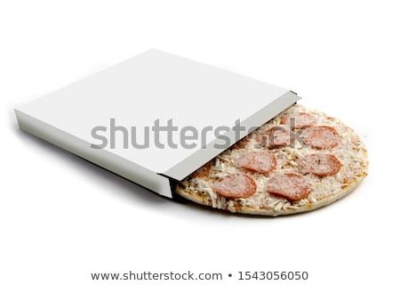 Foto stock: Congelada · pizza · fundo · quadro · gelo · pão