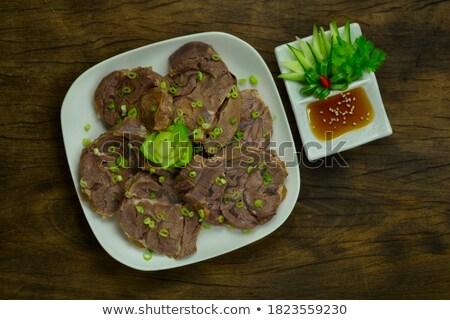 Succulente carne cipolle piatto fresche rosso Foto d'archivio © Kacpura