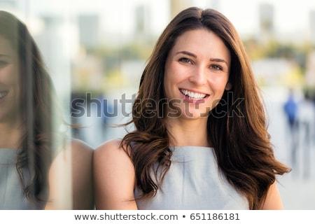morena · senhora · retrato · jovem · cinza · mulher - foto stock © mtoome