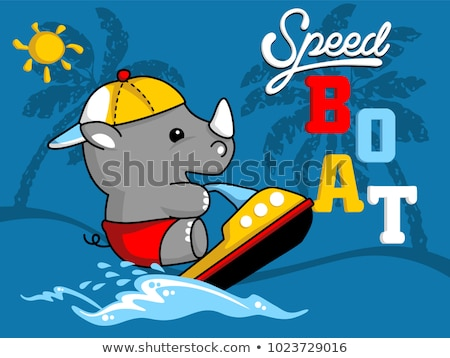 Stock photo: cute cartoon rhinoceros