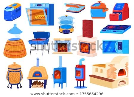 bakery iron wood oven in fire Stock photo © lunamarina