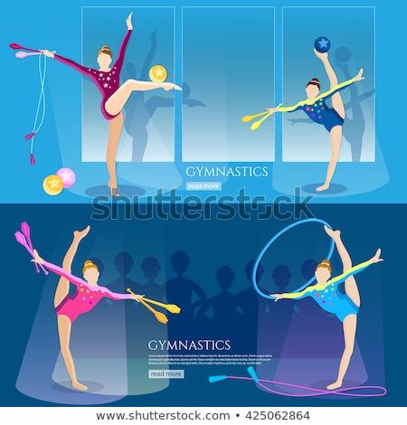 nő · gimnasztikai · szabad · sport · ugrás · izom - stock fotó © leonido