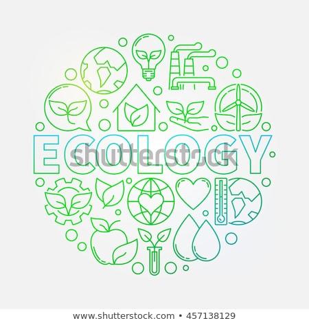 zielone · logo · słowo · ziemi · świecie - zdjęcia stock © donskarpo
