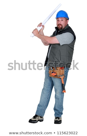Construction worker taking aim with some plans Stock photo © photography33