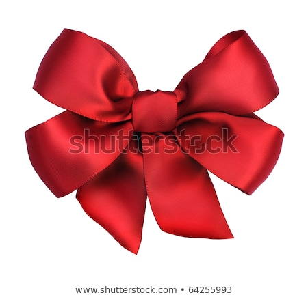 Stock photo: Beautiful red satin gift bow, isolated on white