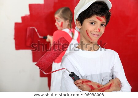 little girl dressed in house painter Stock photo © photography33