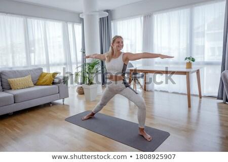 vonzó · nő · gyakorol · jóga · otthon · ház - stock fotó © wavebreak_media