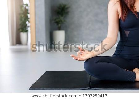 jóga · meditáció · otthon · pihenés · felismerhetetlen · spirituális - stock fotó © HASLOO