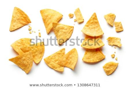 плоская маисовая лепешка чипов белый продовольствие фон жира Сток-фото © saddako2