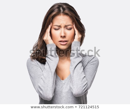 młodych · piękna · kobieta · depresji · odizolowany · biały · włosy - zdjęcia stock © dacasdo