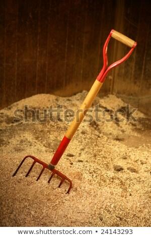 Ló istálló szalmaszál villa szerszám textúra Stock fotó © lunamarina