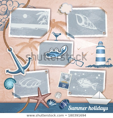 Summer photoframe with starfish and stone, vector illustration Stock photo © carodi