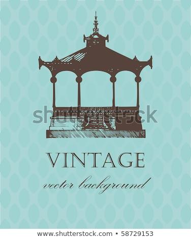 Vintage Card With Old Pavilion Stock fotó © mcherevan