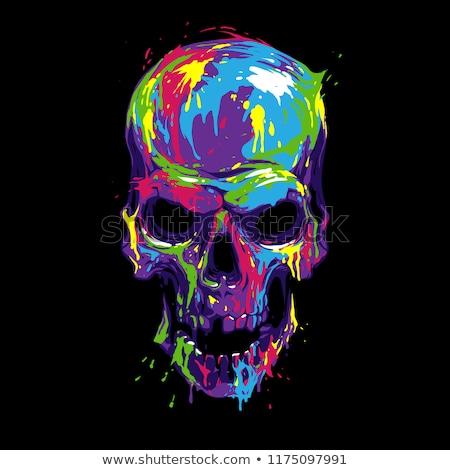 színes · koponya · ikonok · feliratok · vektor · illusztrációk - stock fotó © Glenofobiya