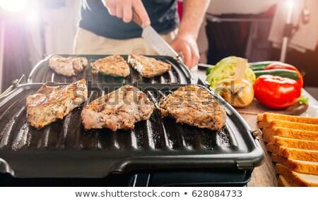 filete · frito · eléctrica · parrilla · humo · calor - foto stock © Catuncia