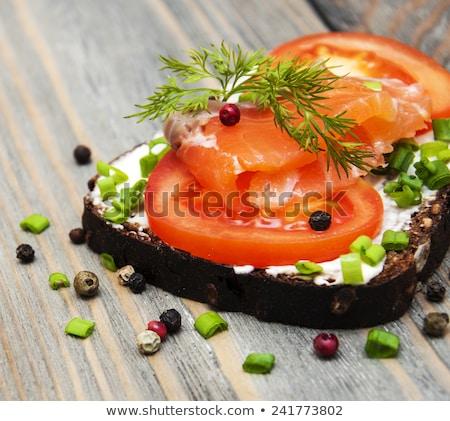 Bread With Cream And Salmon Foto d'archivio © Es75