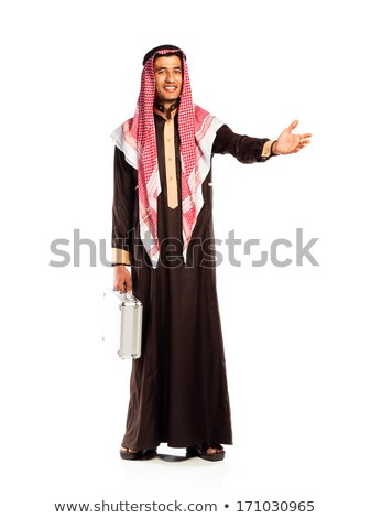 Young smiling arab with a aluminum case invites. Isolated on whi Stock photo © vlad_star
