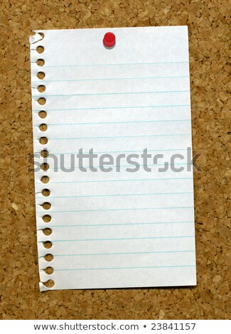Small page from a notepad stuck to a cork noticeboard. Stock photo © latent