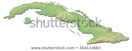 Mapa Cuba 3D forma azul Foto stock © NiroDesign