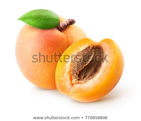 kayısı · meyve · bütün · yarım · yaprak · yalıtılmış - stok fotoğraf © m-studio