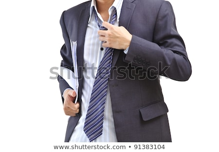Tired young businessman taking off his tie. Isolated on white.  Stock photo © deandrobot