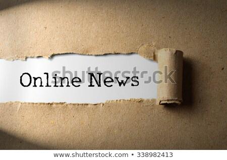 Boletim informativo papel rasgado palavra atrás rasgado papel pardo Foto stock © ivelin