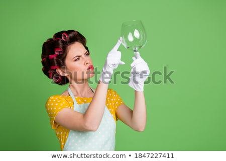 Cozinha mulher limpar copo de vinho lava-louças mão Foto stock © vladacanon