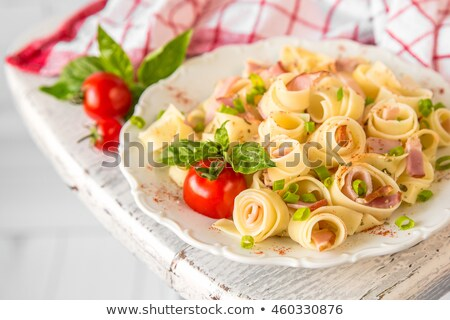 salad with ham mushrooms tomatoes and pasta stock photo © ironstealth