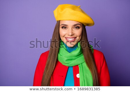 portré · barna · hajú · hölgy · visel · kapucnis · szőrmebunda - stock fotó © konradbak