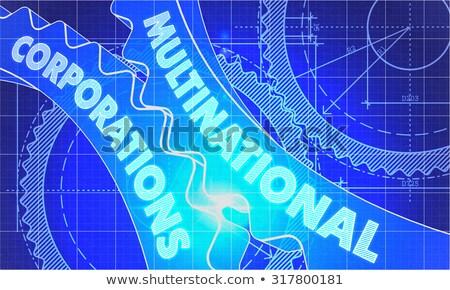 Stockfoto: Multinationaal · blauwdruk · versnellingen · industriële · ontwerp · 3d · illustration