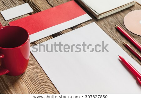 The mockup on wooden background with red calculator Stock photo © master1305