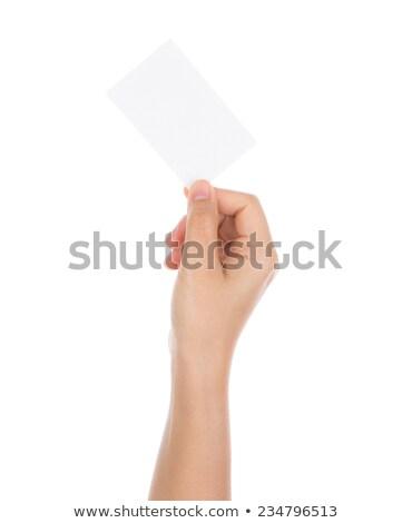 腕 水平な ブランクカード 孤立した 白 ストックフォト © cherezoff