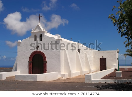 Spain Canary Islands Lanzarote pretty whitewashed chapel  Stock photo © meinzahn