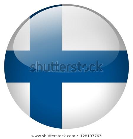 Финляндия флаг кнопки аннотация синий силуэта Сток-фото © ojal