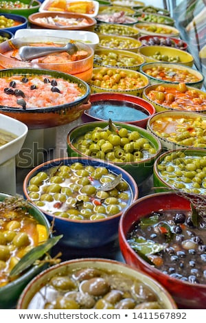 Colorful olives at a market Stock photo © elxeneize