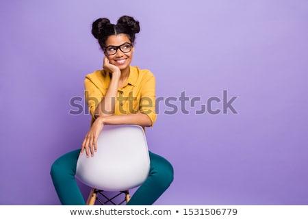 Сток-фото: улыбающаяся · женщина · красочный · Top · сидят · Председатель · улыбаясь