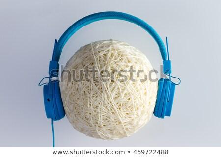 Piłka ciąg niebieski słuchawki wosk plastikowe Zdjęcia stock © ozgur