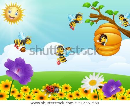 abeilles · battant · autour · ruche · illustration · nature - photo stock © bluering