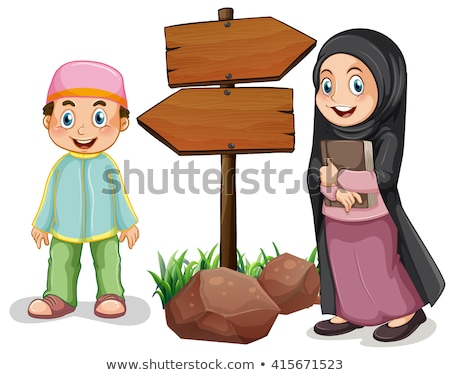 Two islamic kids by the wooden sign Stock photo © bluering