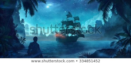 Pirate and ship at treasure island Stock photo © bluering