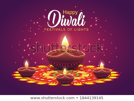festival greeting for diwali with hanging diya lamps Stock photo © SArts