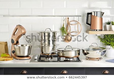 Foto stock: Aço · inoxidável · cozinha · turva · moderno · batedeira