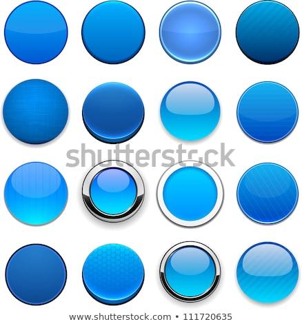 Mavi düğme gezegen beyaz mermer logo Stok fotoğraf © almir1968