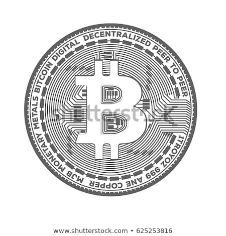 set of black and white bitcoins symbol Stock photo © SArts